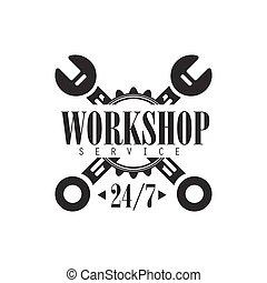 réparation, conception, horloge, voiture, étiquette, atelier, noir, gabarit, traversé, blanc, clés, rond