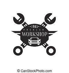 réparation, conception, silhouette, voiture, étiquette, atelier, noir, gabarit, traversé, blanc, clés