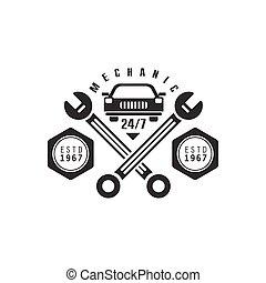 réparation, conception, voiture, étiquette, atelier, noir, gabarit, traversé, blanc, clés
