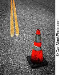 réparation, construction, cône rue