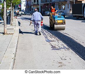 réparation, construction, rue, ville