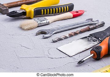 réparation, copie, divers, outils, space.