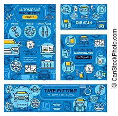réparation, diagnostic, véhicules, voiture, nettoyage, service