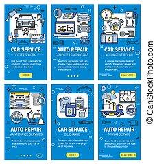 réparation, diagnostic, voiture, véhicule, service