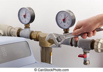 réparation, eau, softener