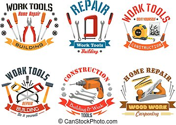 réparation, ensemble, icônes, travail, vecteur, outils