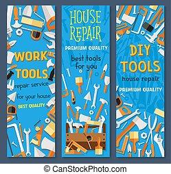 réparation, ensemble, outillage, construction, bannière, dessin animé