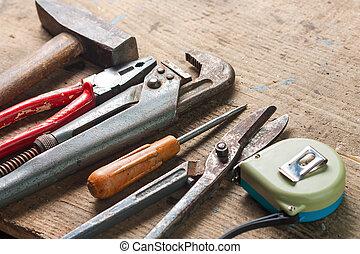 réparation, ensemble, outils