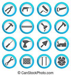 réparation, ensemble, rénovation, icône, maison
