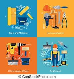 réparation, ensemble, rénovation, service, icônes