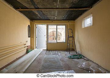 réparation, entrée, locaux, maison, fenêtre, rue, privé, vue côté