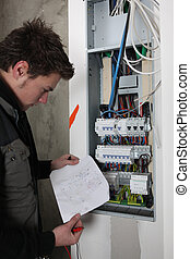 réparation, fusebox, électricien
