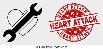 réparation, grunge, coeur, timbre, attaque, vecteur, cachet,...