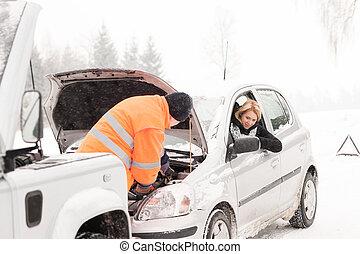 réparation, hiver, voiture, assistance, femme, homme neige