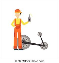 réparation, huile, service, voiture, garage, atelier, illustration, mécanicien, changer, sourire