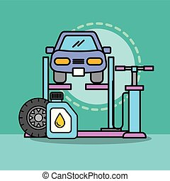 réparation, huile, service, voiture, pompe, atelier, entretien