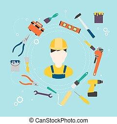 réparation, illustration., couleur, constructeur, improvement., vecteur, maison, outils