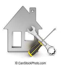 réparation, isolé, illustration, arrière-plan., maison, blanc, 3d