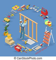 réparation, isométrique, constructions, bois, charpentier, constr, maison, template.