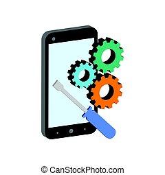 réparation, isométrique, smartphone, plat, mobile, logo., infographic., pictogramme, ui, symbole., ou, app, toile, icône, style, conception, 3d