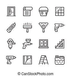 réparation, ligne, ensemble, icônes