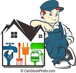 réparation, logement, maître