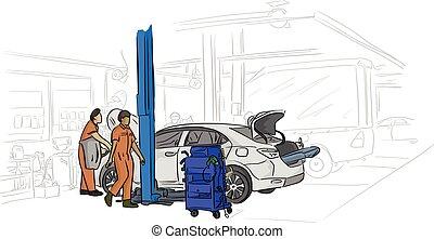 réparation, mécanicien, service, fonctionnement, voiture, lignes, isolé, illustration, vecteur, arrière-plan noir, auto, blanc