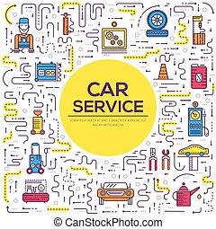 réparation, mécanicien, service, icônes, atelier, concept., garage., auto, plat, voiture, station, mince, fond, véhicule, ouvrier, ligne, outils, paysage, design.
