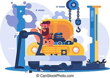 réparation, mécanicien voiture, garage