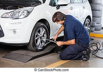 réparation, mécanicien voiture, pneu, garage