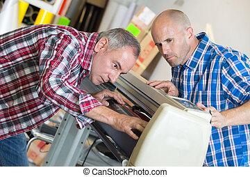 réparation, machine, hommes