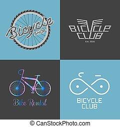 réparation, magasin de bicyclettes, ensemble, vélo, collection, vecteur, loyer, logo