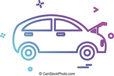réparation, magasin, voiture, vecteur, conception, icône