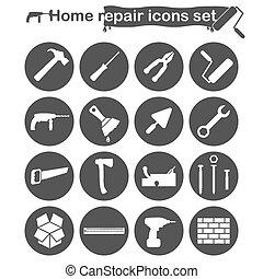 réparation maison, ensemble, rénovation, icônes