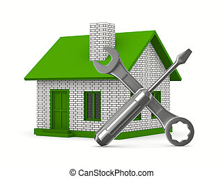 réparation, maison, image, isolé, arrière-plan., blanc, 3d