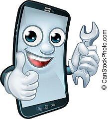 réparation, mobile, haut, téléphone, pouces, clé, mascotte