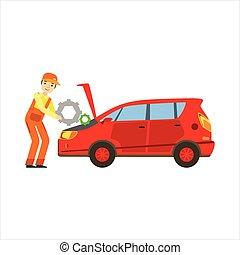 réparation, moteur, service, réparation, voiture, garage, atelier, illustration, mécanicien, sourire