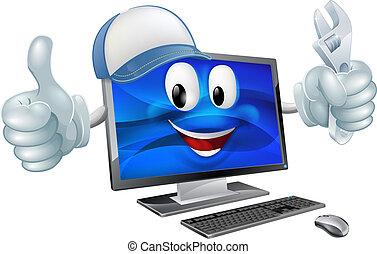 réparation ordinateur, dessin animé, caractère