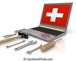 réparation, ordinateur portable, ensemble, outils, complet