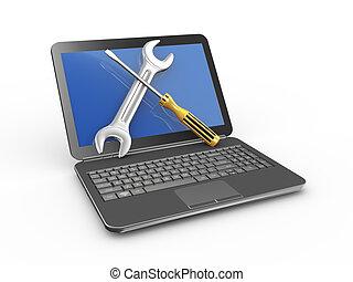 réparation, ordinateur portable, tournevis, clé, outils, 3d