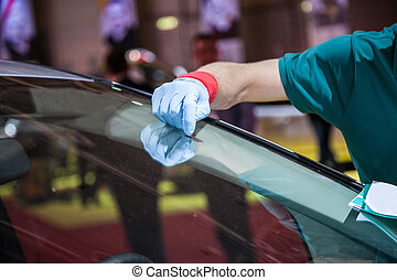 réparation, pare-brise, voiture