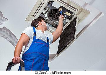 réparation, plafond, ouvrier, climatisation, unité