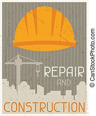 réparation, plat, affiche, conception, retro, style., construction.
