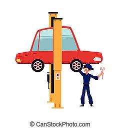réparation, plat, vecteur, garçon, voiture, ascenseur