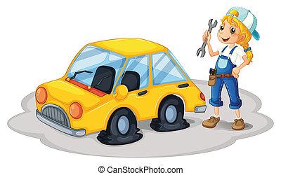 réparation, plat, voiture, jaune, pneus, girl