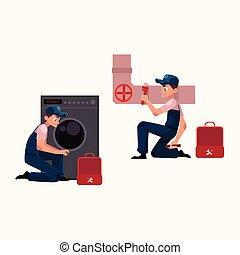 réparation, plombier, travail, spécialiste, canaux transmission, machine, égout, plomberie, lavage