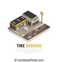 réparation, pneu, fond, centre