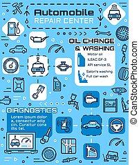 réparation, pneu, service, parties, voiture, auto, épargner, véhicule