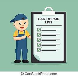 réparation, presse-papiers, liste, mécanicien
