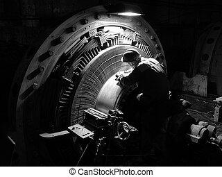 réparation, puissance, dc, élevé, moteur, collector.